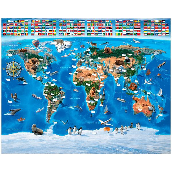Fototapeten: Kinderweltkarte Flaggen