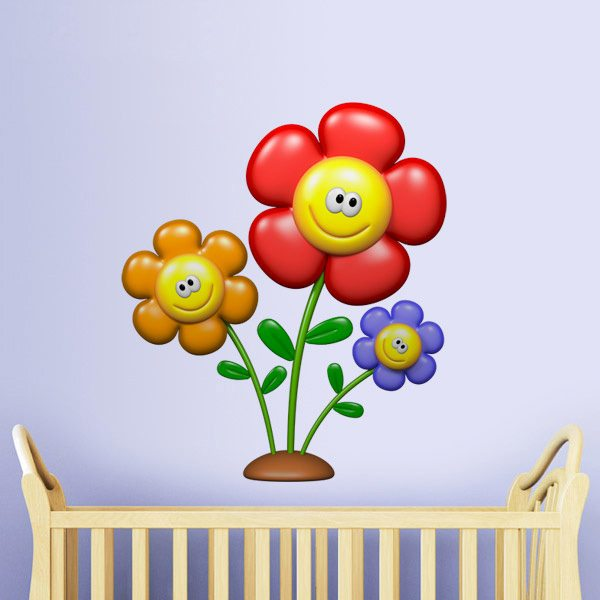 Kinderzimmer Wandtattoo: Smiley-Blumen II
