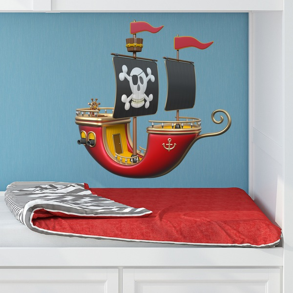 Kinderzimmer Wandtattoo: Rote Piratenschiff 1