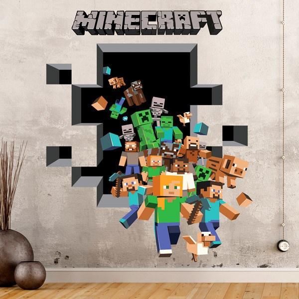 Wandtattoos: Minecraft 3D 2