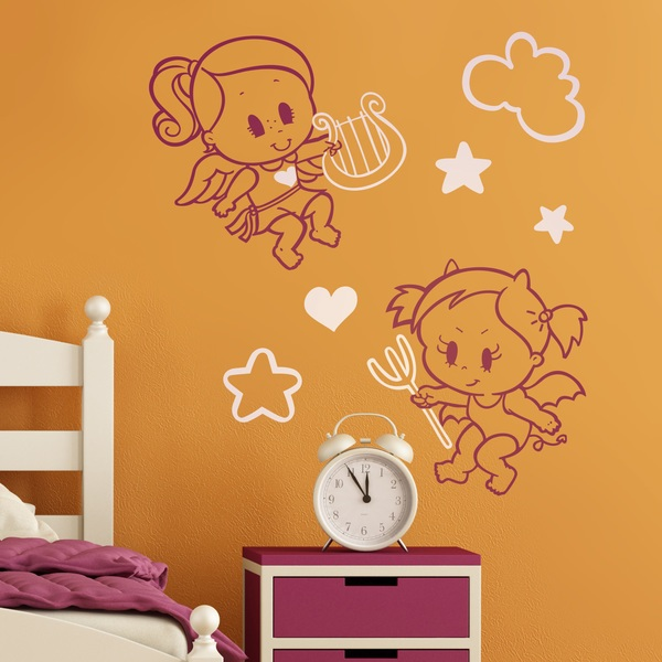 Kinderzimmer Wandtattoo: Multicolour Angel y Demonio