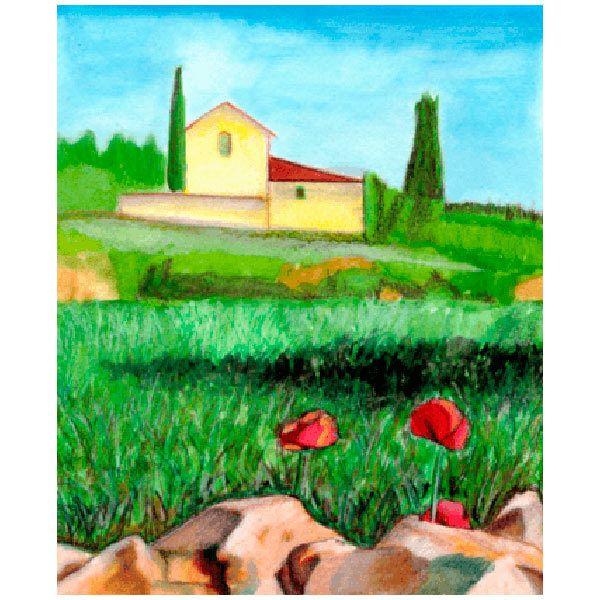 Wandtattoos: Gemälde von Landschaft ein Bauer