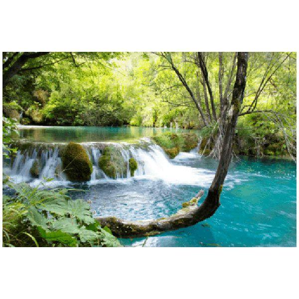Wandtattoos: Vegetation und Fluss mit Wasserfall