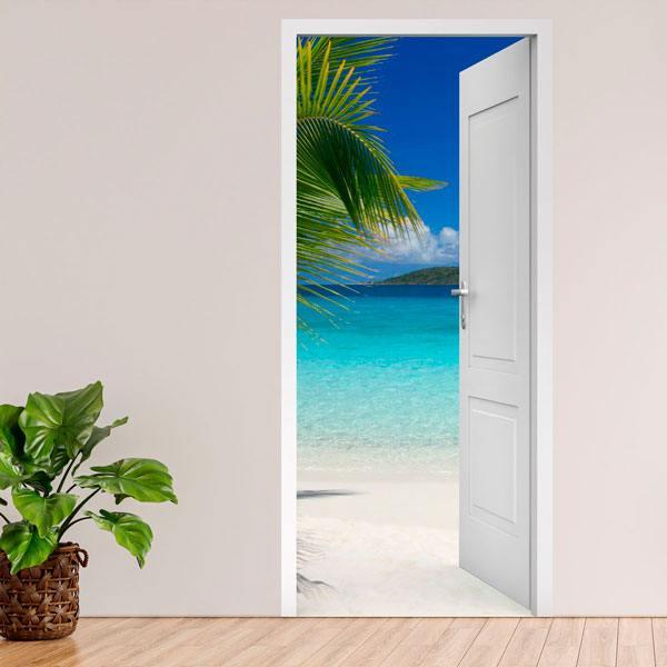 Wandtattoos: Offene Tür Palme und strand