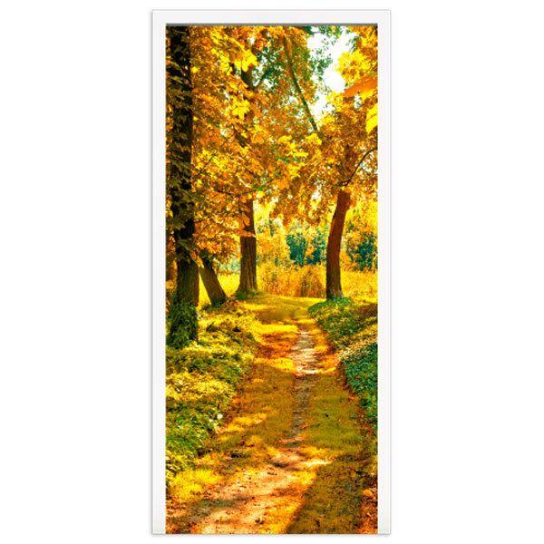 Wandtattoos: Tür pfad in einem Wald im Herbst