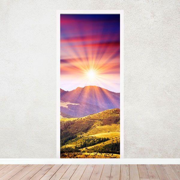 Wandtattoos: Tür Berge und Sonnenuntergang