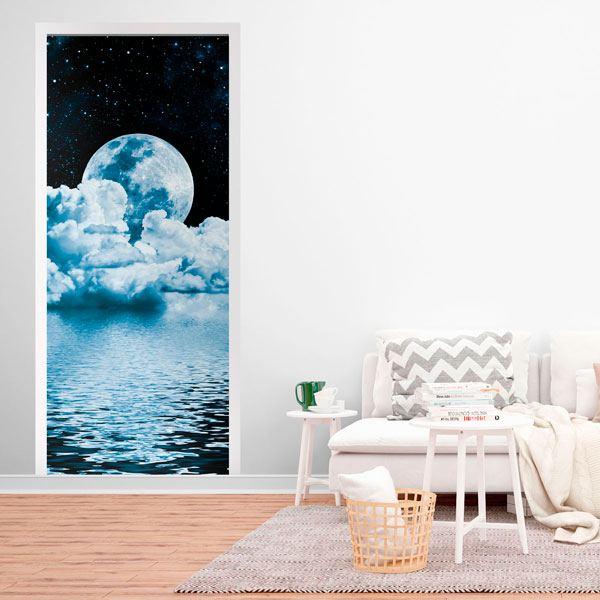Wandtattoos: Tür Mond über Meer