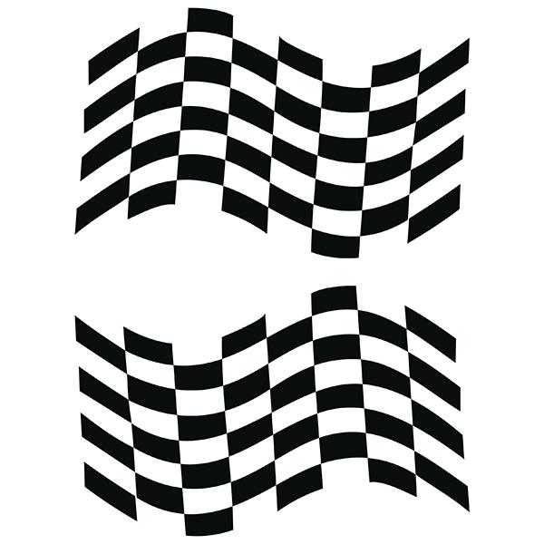 Aufkleber: Doble bandera de cuadros