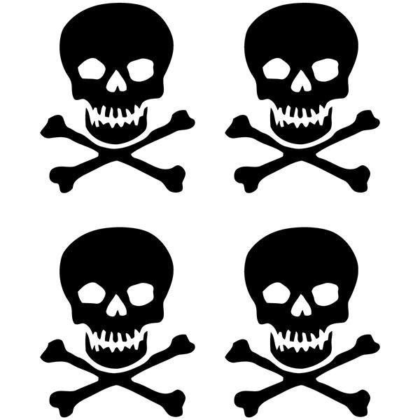 Aufkleber: 4 skulls set