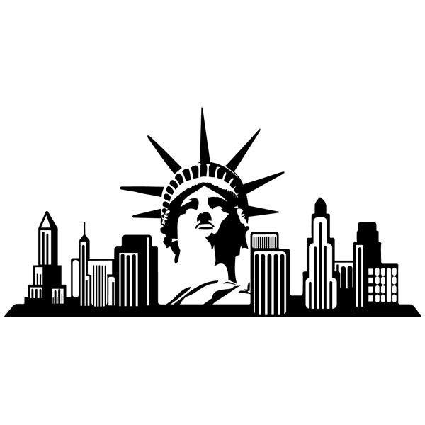 New york skyline wall stencil for Stickers para pared decorativos