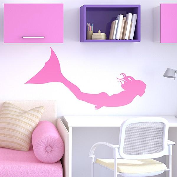 Kinderzimmer Wandtattoo: Meerjungfrau Schwimmen