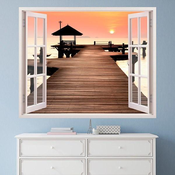 Wandtattoos: Sonnenuntergang Schiffsanlegestelle