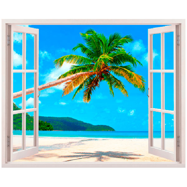 Wandtattoos: Palme auf karibischen Strand