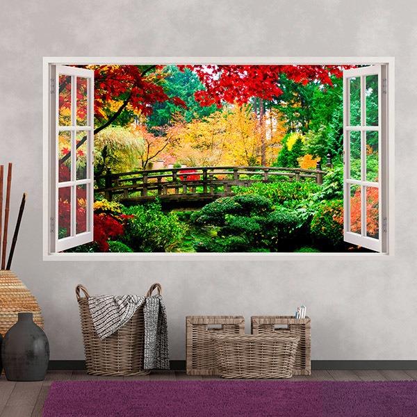 Wandtattoos: Panorama Brücke in einem Wald