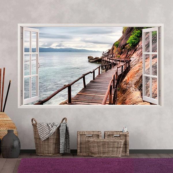 Wandtattoos: Panorama Brücke auf dem Meer