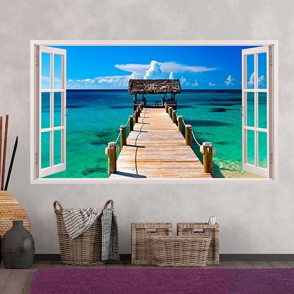 Wandtattoos: Panorama Tor zum Meer in Bahamas