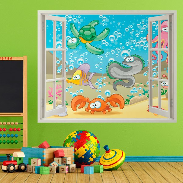 Kinderzimmer Wandtattoo: Meeresboden Fenster