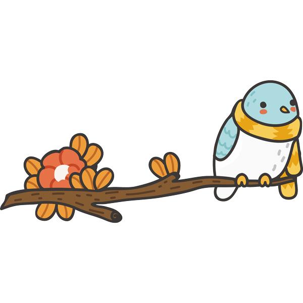 Kinderzimmer Wandtattoo: Vogel mit einem Schal auf dem Ast