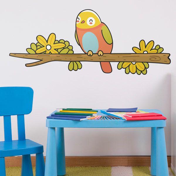 Kinderzimmer Wandtattoo: Vogel 1 auf einem Ast im Winter