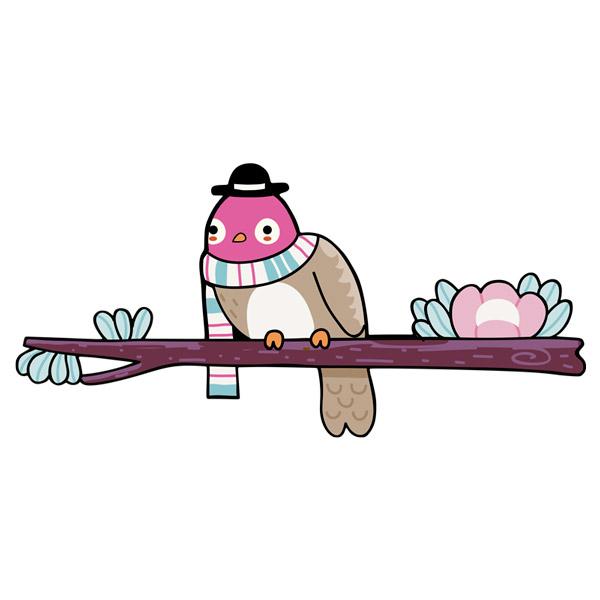 Kinderzimmer Wandtattoo: Vogel 2 auf einem Ast im Winter