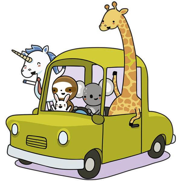Kinderzimmer Wandtattoo: Auto beladen mit Tieren