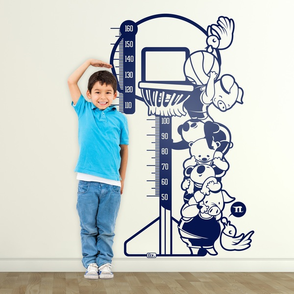 Kinderzimmer Wandtattoo: Messlatte Basketball Tiere