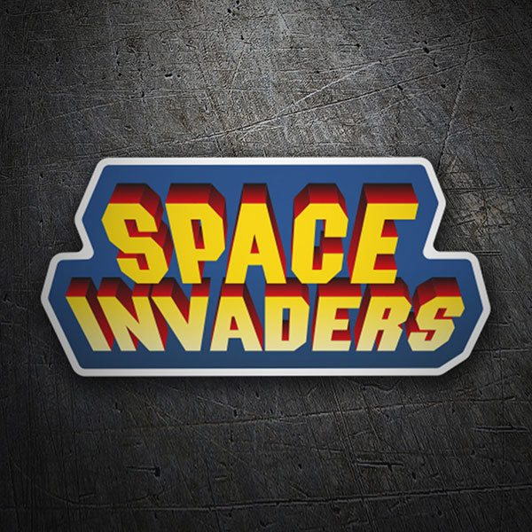 Aufkleber: Space Invaders 3D Blau