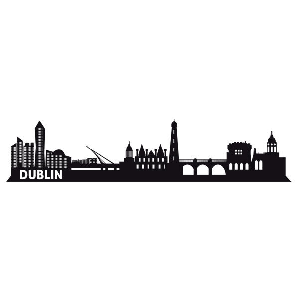 Wandtattoos dublin skyline for Braune klebefolie