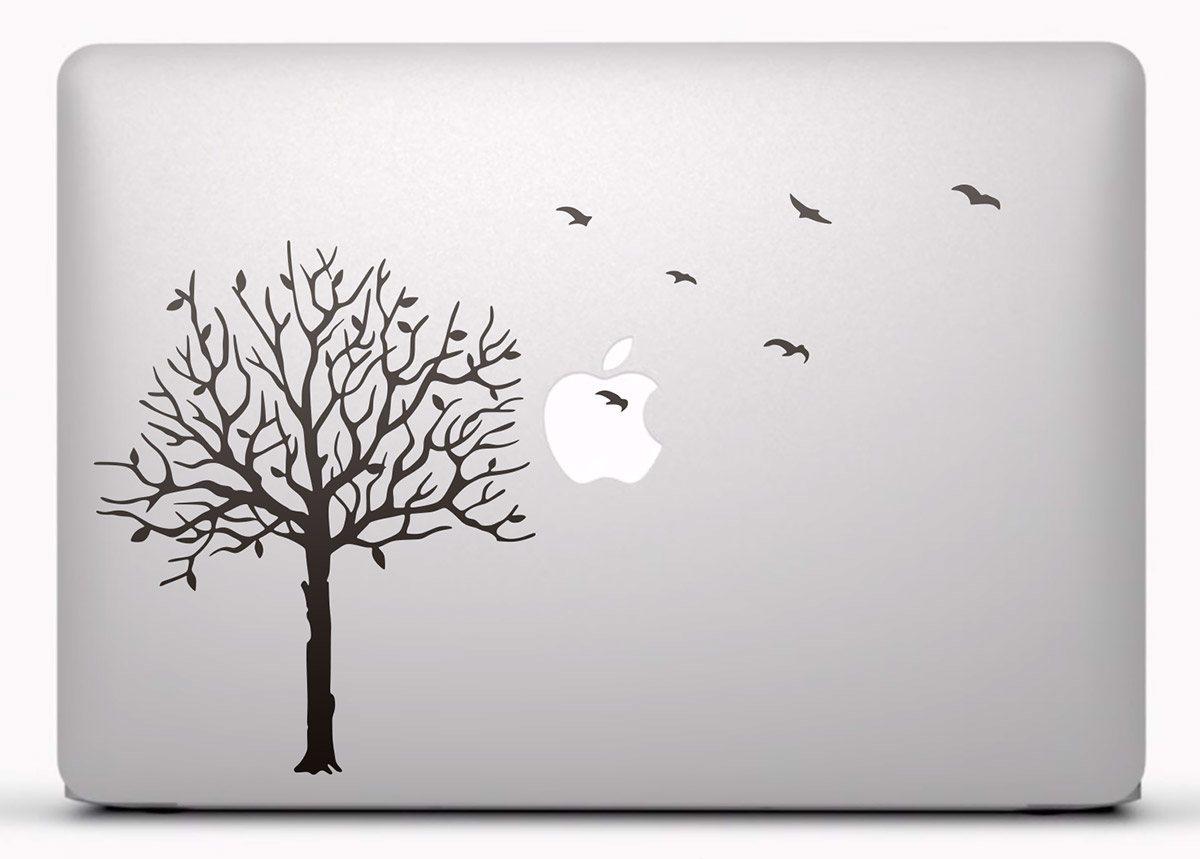 Aufkleber: Baum und Vögel