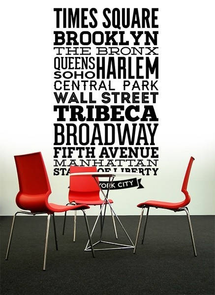 Wandtattoos: Typografische Straßen von New York
