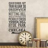 Wandtattoos: Typografische Straßen von London 0