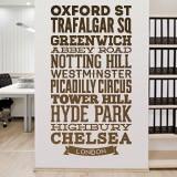 Wandtattoos: Typografische Straßen von London 2