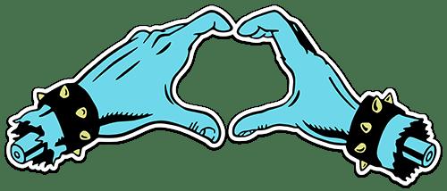 Aufkleber: Handinneres Santa Cruz