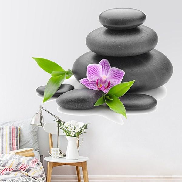 Aufkleber Zen Gestapelten Steinen Und Orchidee Webwandtattoo Com