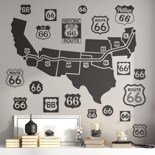 Wandtattoos: Route 66 Road Map