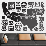 Wandtattoos: Route 66 Road Map 3
