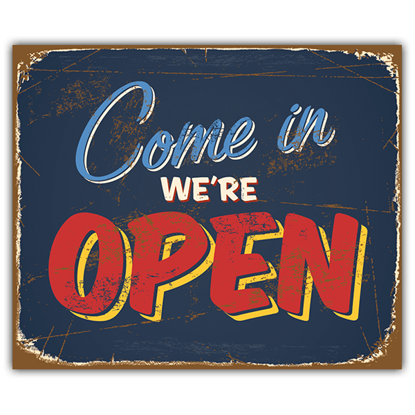 Wandtattoos: Retro-Zeichen come in we are open