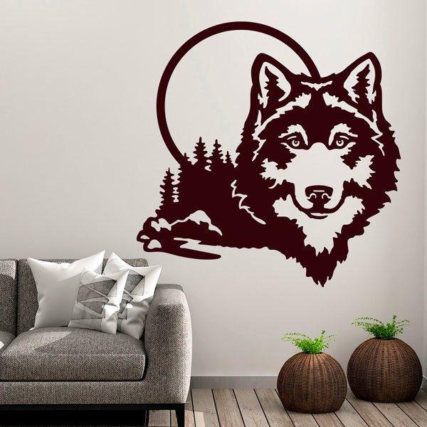 Wandtattoo Wolf Mit Vollmond Webwandtattoo Com