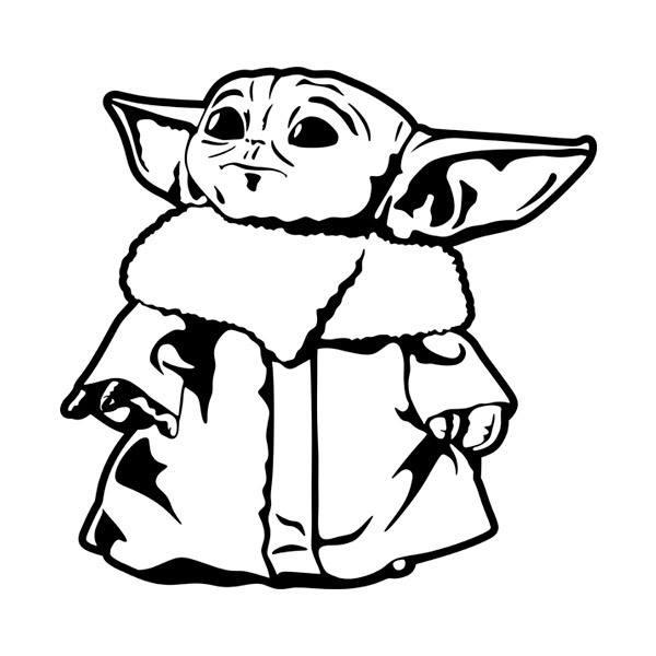 baby yoda cartoon drawing black and white  images  slike