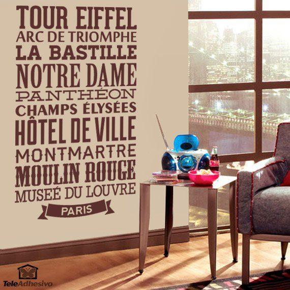 Wandtattoos: Typografische Paris
