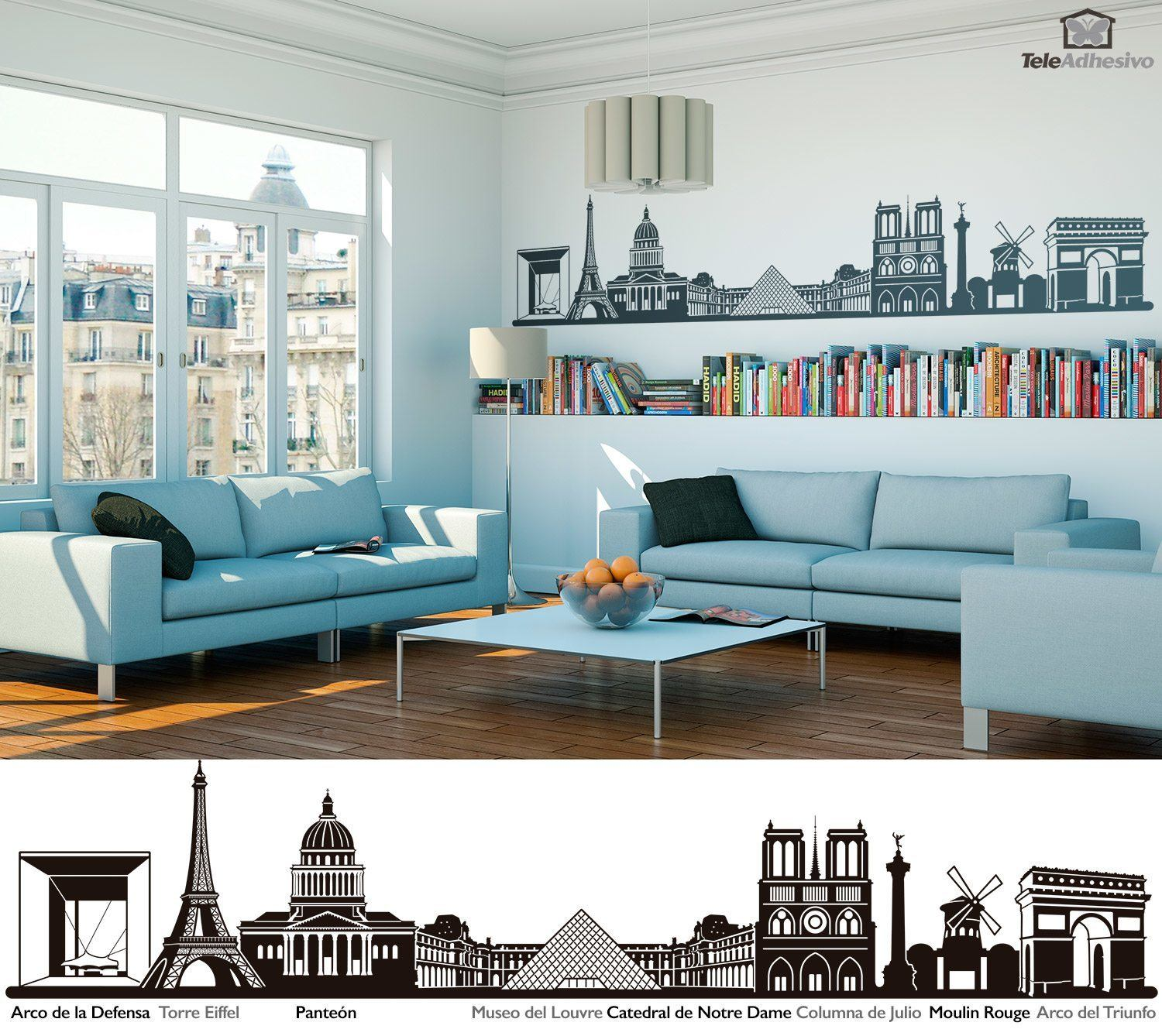 wandtattoo paris skyline. Black Bedroom Furniture Sets. Home Design Ideas