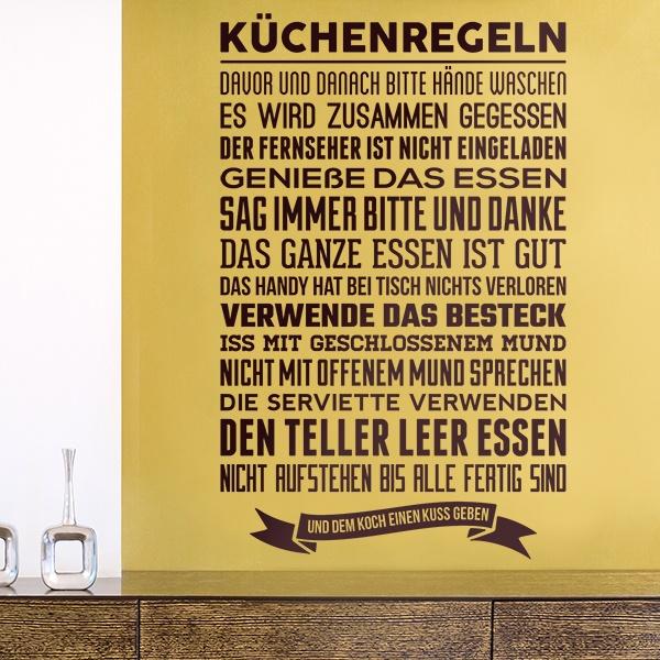 Wandtattoo küche Küchenregeln | WebWandtattoo.com