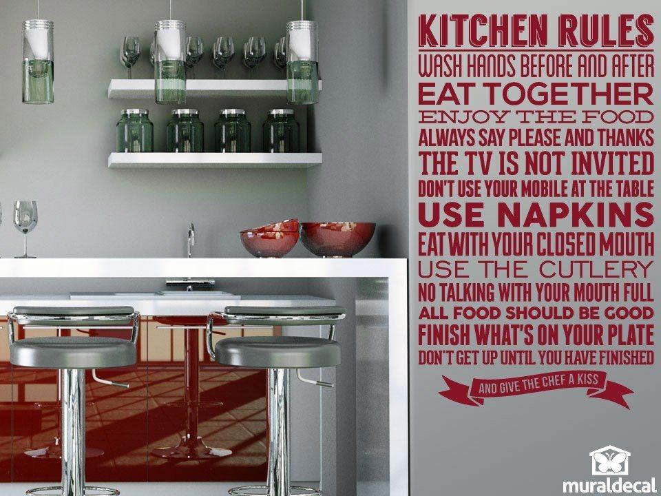 wandtattoo k che regeln der k che. Black Bedroom Furniture Sets. Home Design Ideas