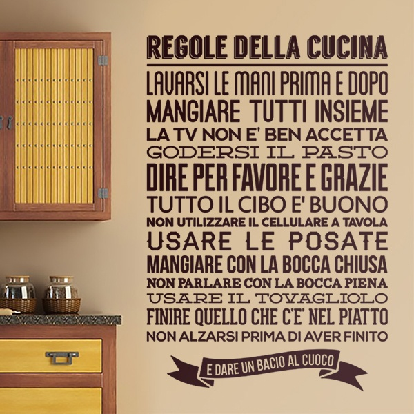 Wandtattoos: Regeln Der Küche   Italienisch