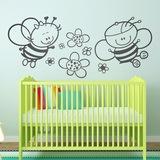Kinderzimmer Wandtattoo: Biene mit Blumen 0