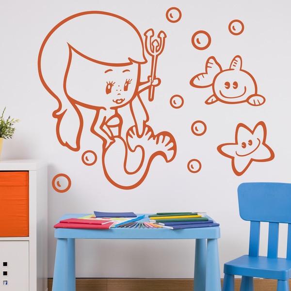 Wandtattoo babyzimmer mädchen kleine Meerjungfrau ...