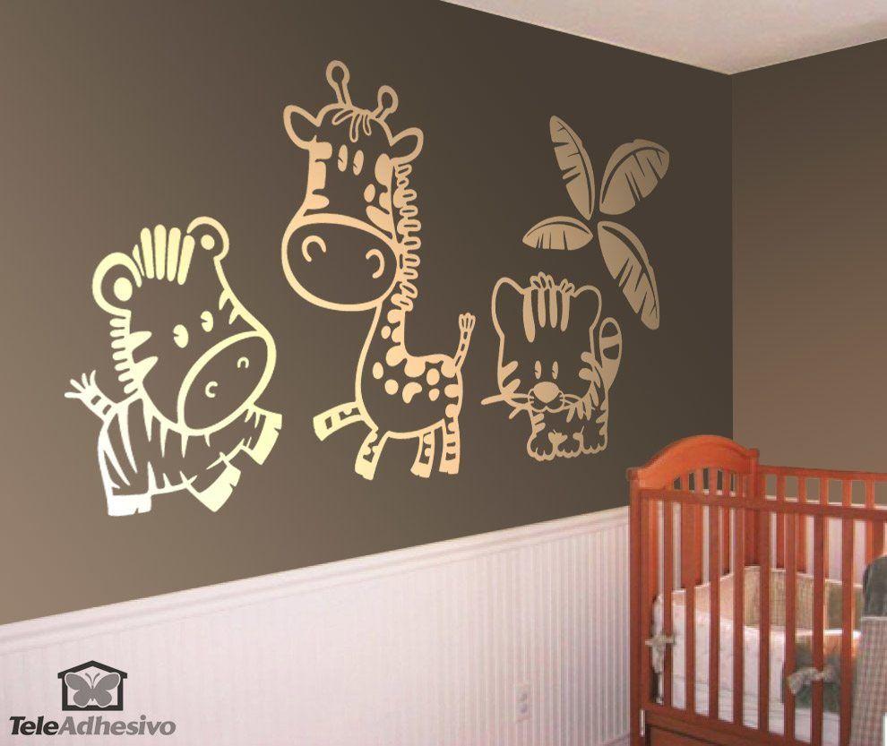 Wandtattoo von Zebra, Giraffe und Tiger unter einer Palme