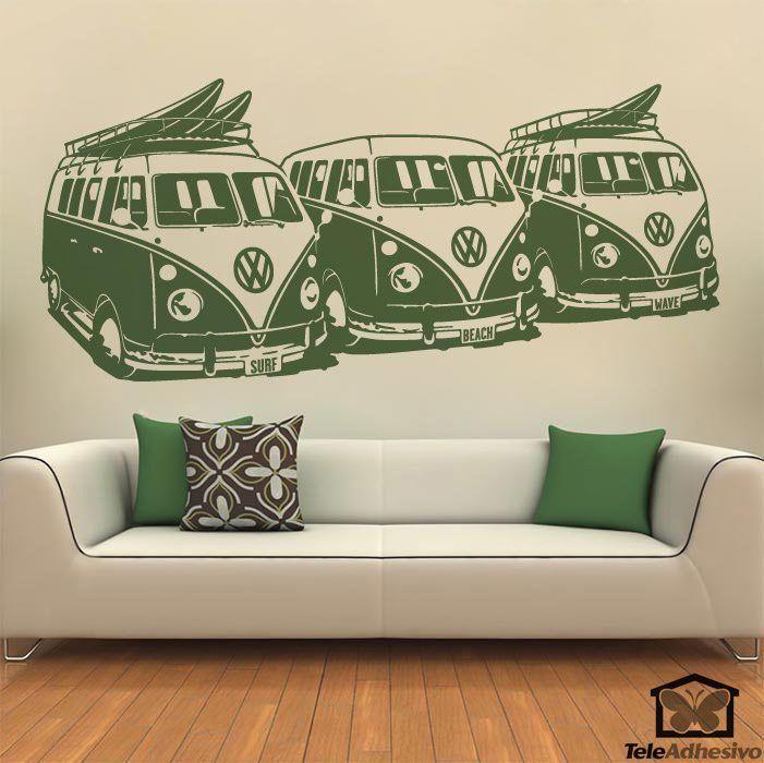 Wandtattoos: 3 Volkswagen Surf Vans