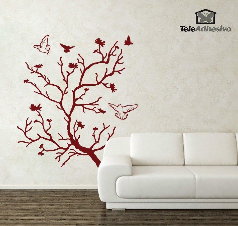 wandtattoos baum und tauben. Black Bedroom Furniture Sets. Home Design Ideas
