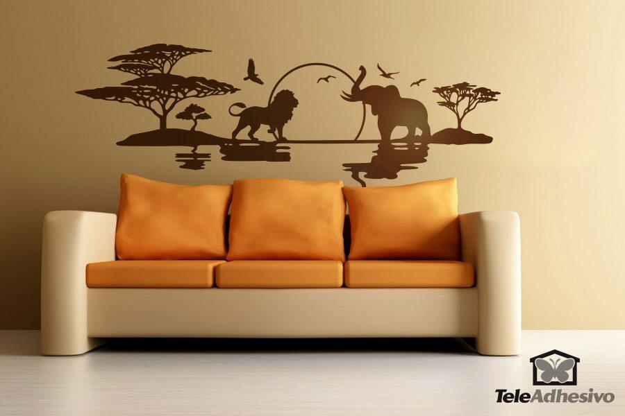 Wandtattoo eines afrikanischen savanne mit einem - Wandfarbe savanne ...